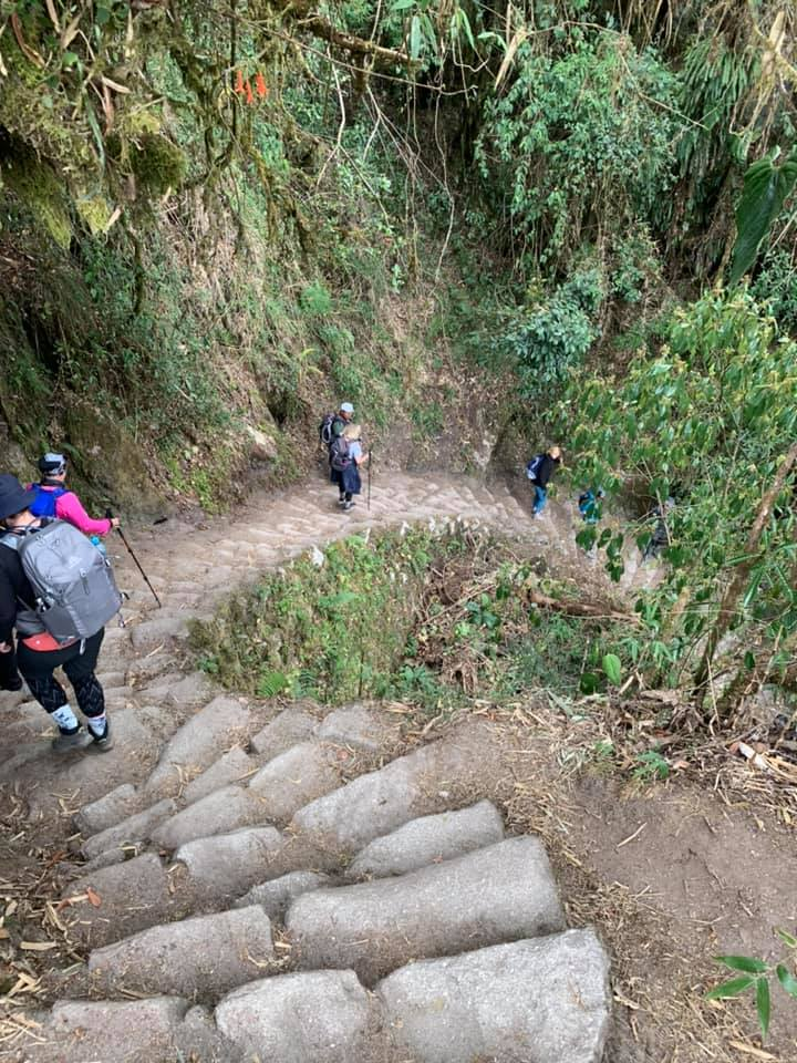 a steep set of stairs on the inca trail