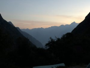 sunrise in the Andes on the way to Machu Picchu