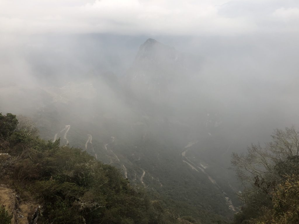 The clouds covered our view of Machu Picchu from the Sun Gate
