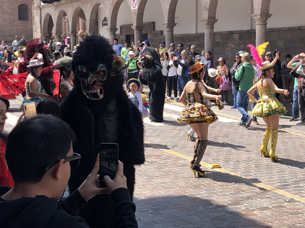 A random parade in Cusco. People were dressed in costumes like this gorilla.