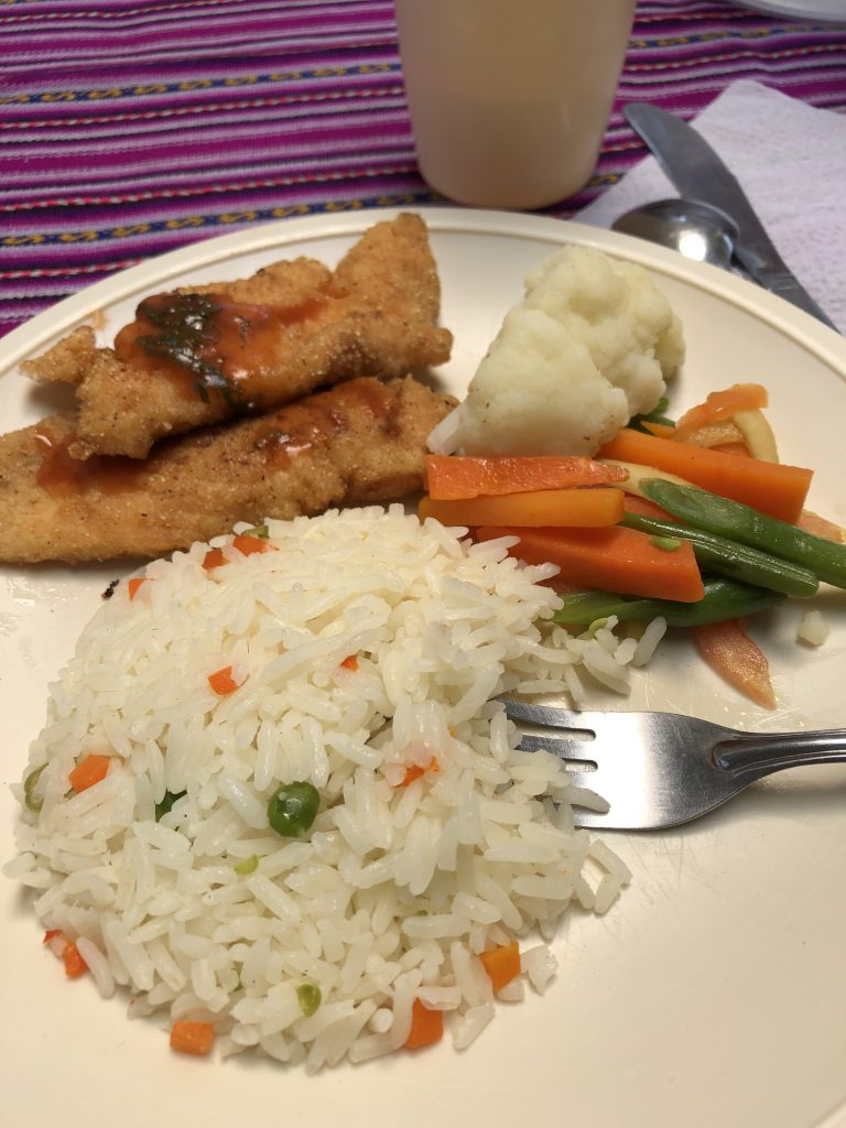 trout, vegetables, and rice