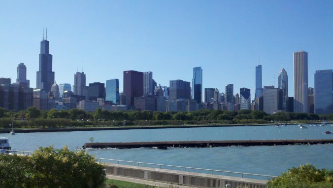 Chicago Skyline on a Blue Sky Day