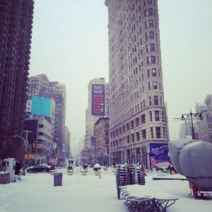 Flatiron Building in the snow