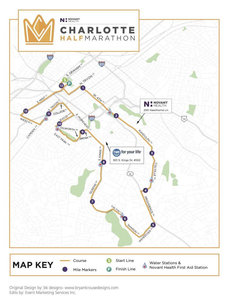 2016 Charlotte Half Marathon Map