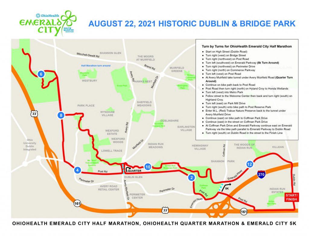 course map of 2021 Emerald City Half Marathon