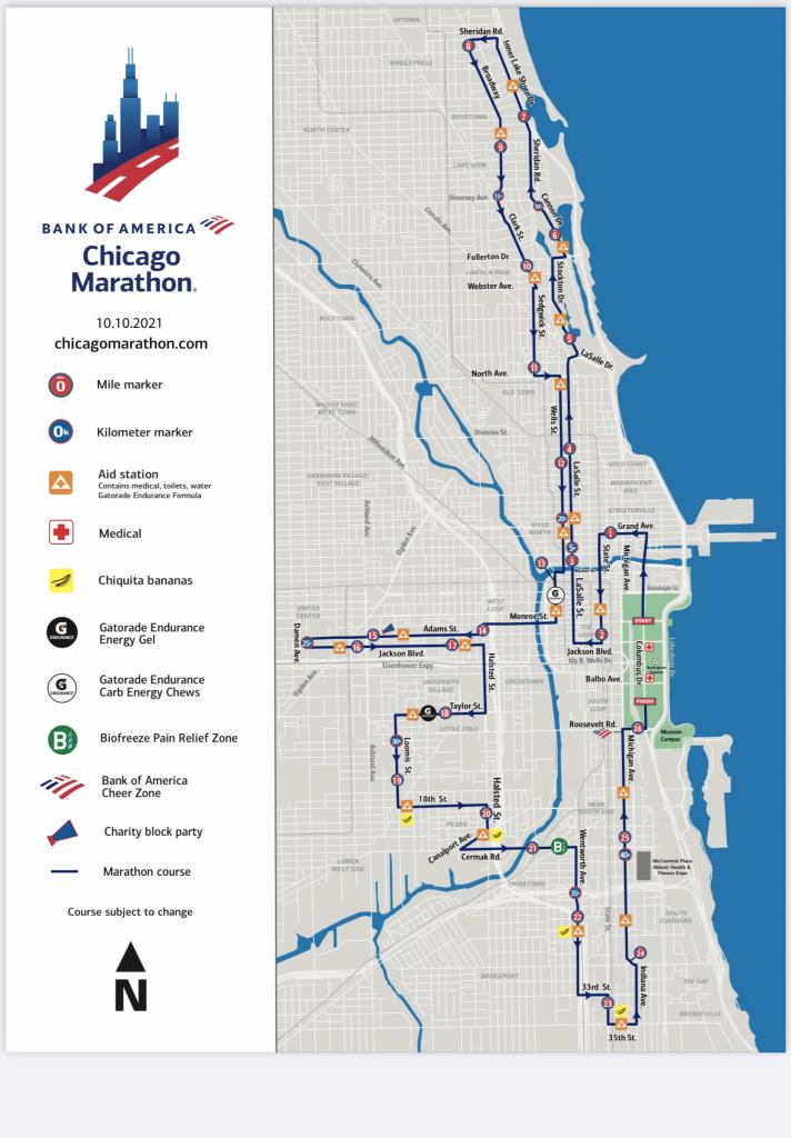 2021 Chicago Marathon Course Map